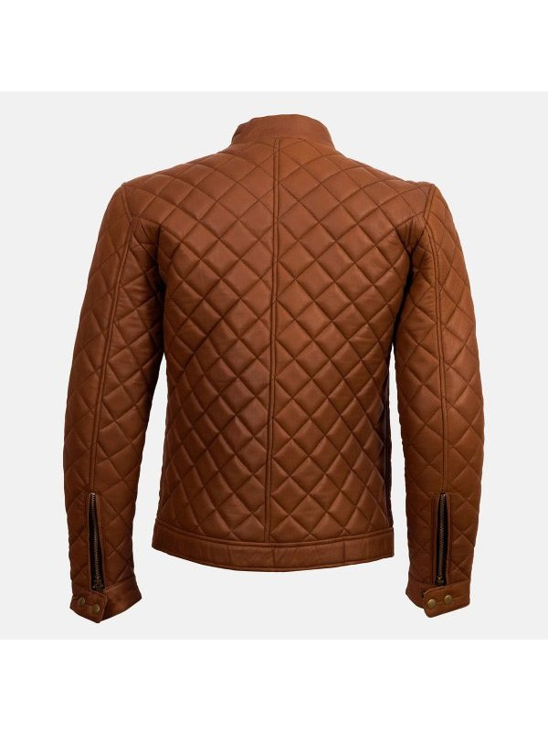 Men's Tan Brown Quilted Style Cafe Racer Jacket