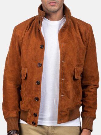 Men's Tan Brown Suede Bomber Jacket
