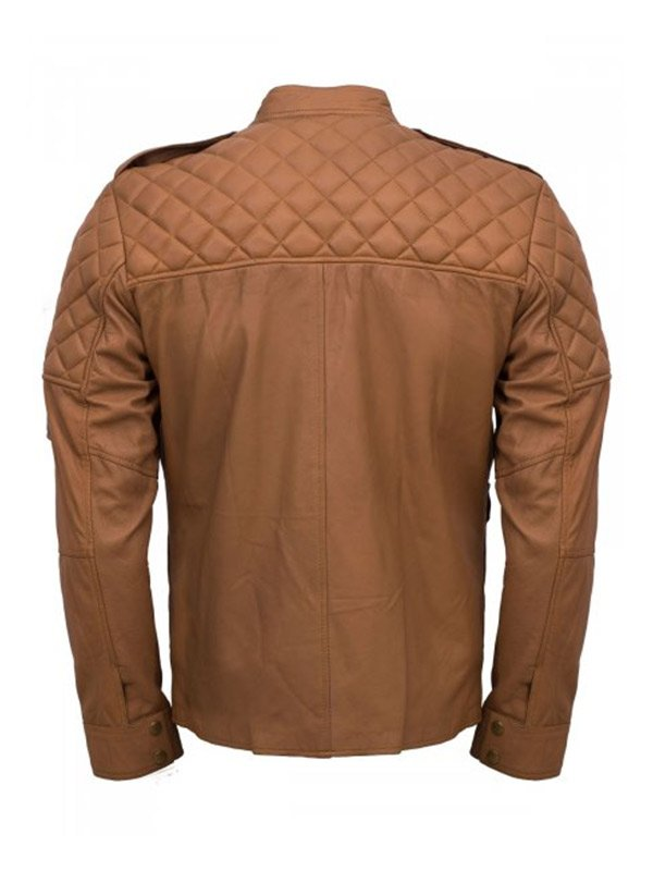 Men's Tan Sheepskin Quilted Style Leather Jacket