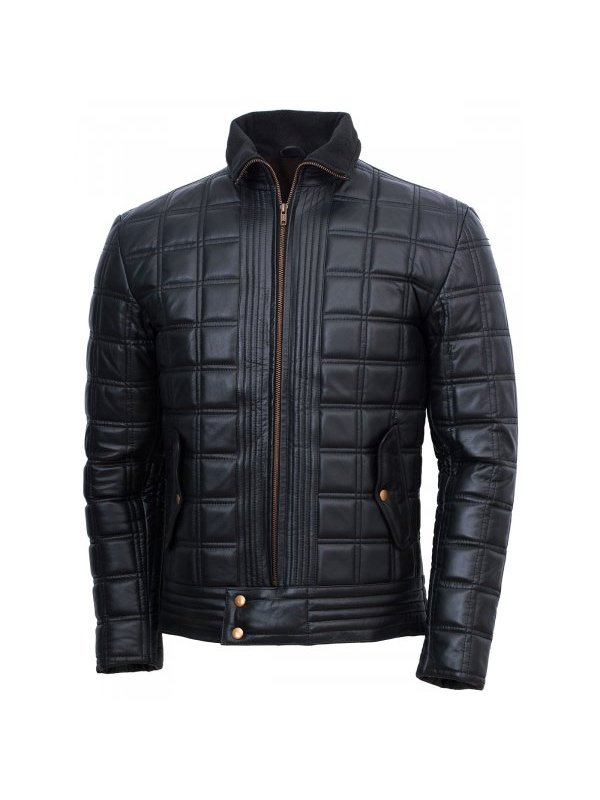 Men's Trimmed Quilted Leather Jacket