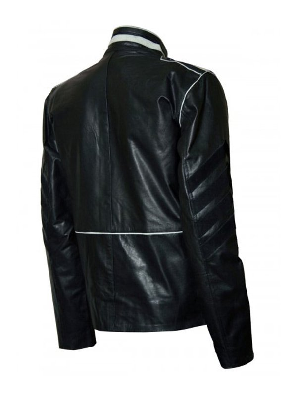 Military Style Black & White Leather Jacket For Men's