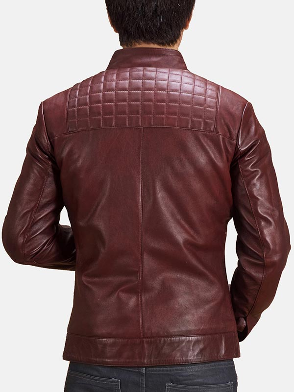 Quilted Style Maroon Leather Biker Jacket For Men's