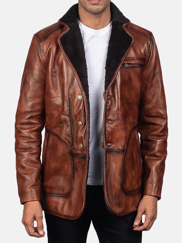 Shearling Brown Men's Leather Coat