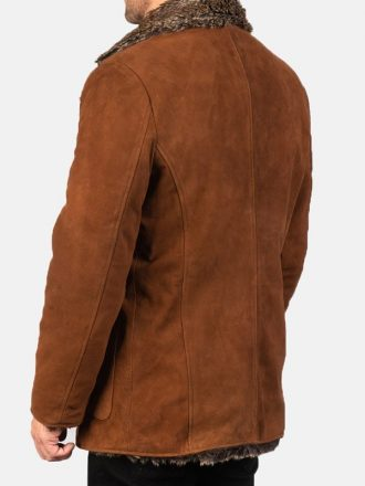 Shearling Brown Suede Leather Fur Coat For Men's