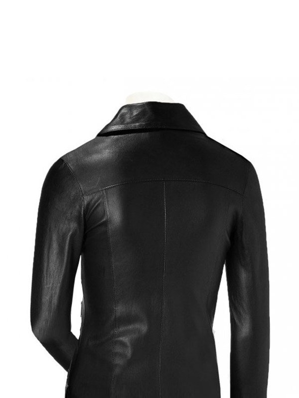 Stylish Black Slim Fit Leather Moto Jacket For Women's