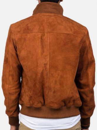 Tan Brown Suede Leather Bomber Jacket For Men's