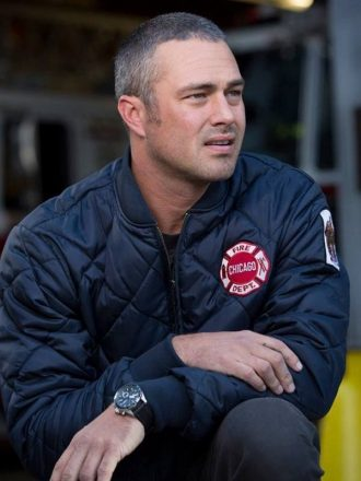 Taylor Kinney Chicago P.D Kelly Severide Blue Quilted Bomber Jacket