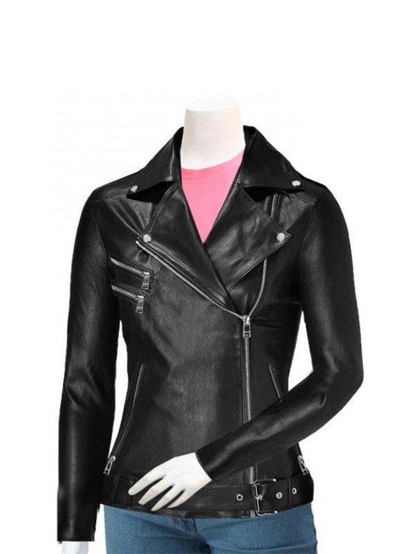 Women's Black Slim Fit Leather Motorcycle Jacket