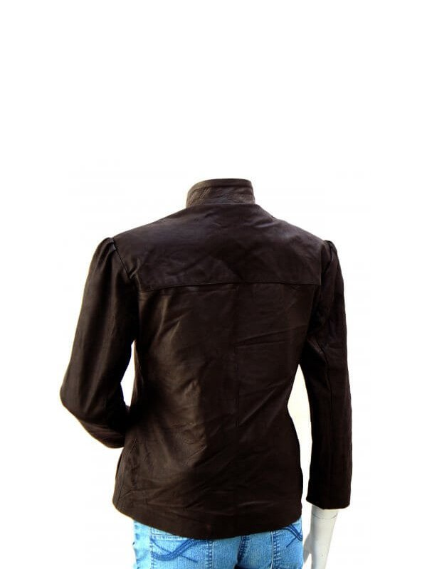 Women's Brown Artistic Studded Leather Jacket