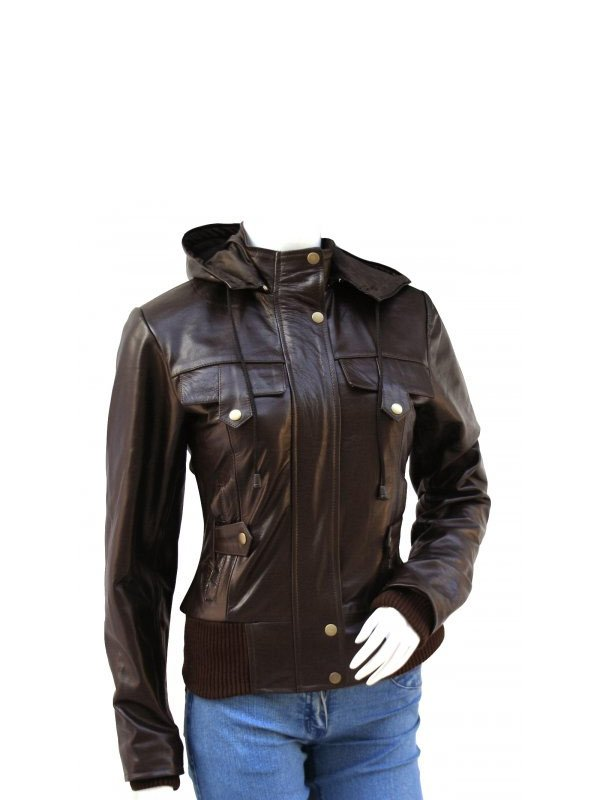 Women's Brown Hooded Leather Bomber Jacket