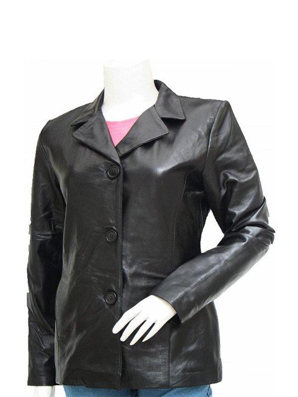Women's Casual Black Leather Blazer