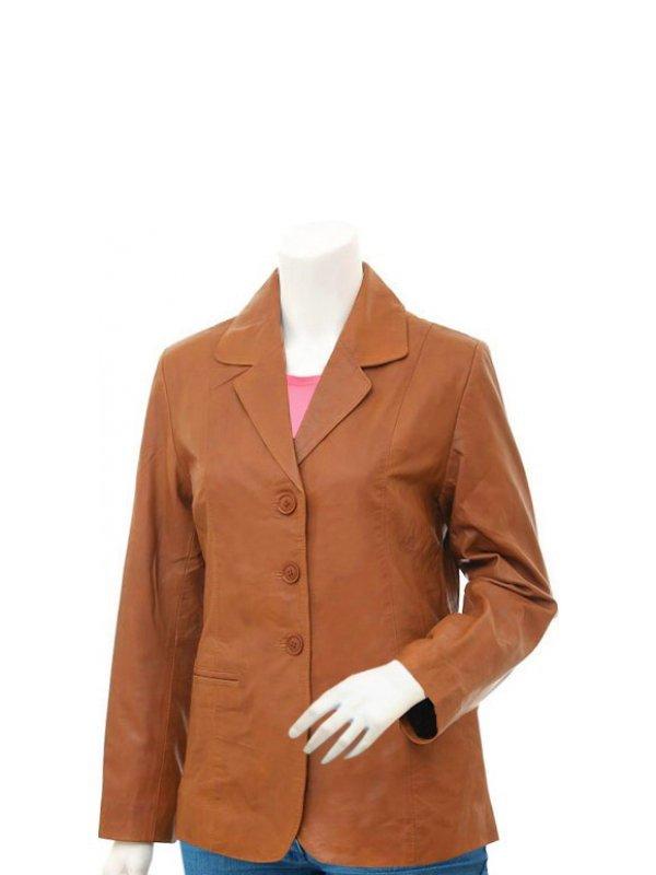 Women's Casual Tan Leather Blazer