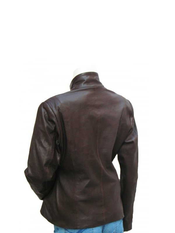 Women's Choclate Brown 4 Button Leather Jacket