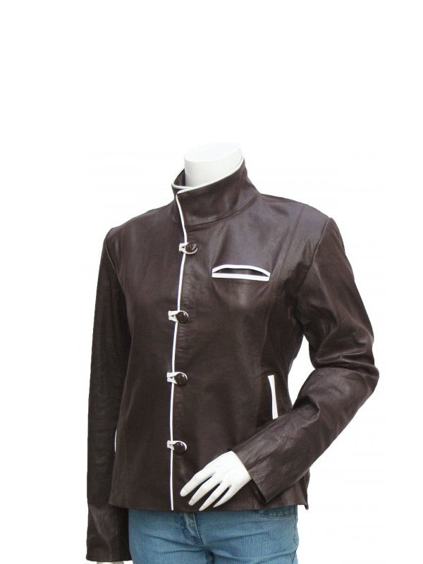 Women's Choclate Brown Leather Jacket