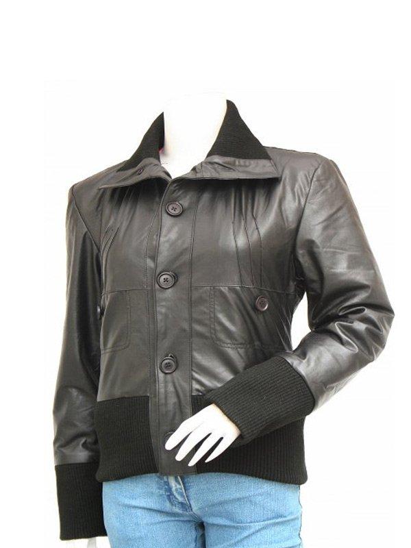 Women's Fansy Leather Black Bomber Jacket