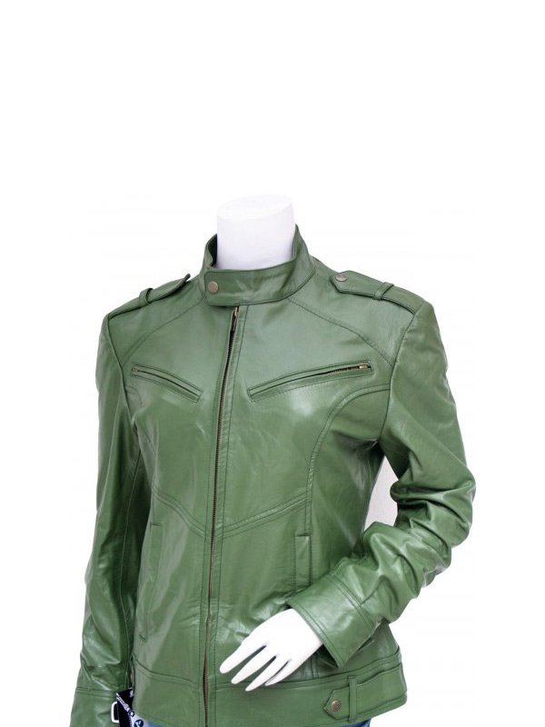 Women's Fashion Green Biker Leather Jacket