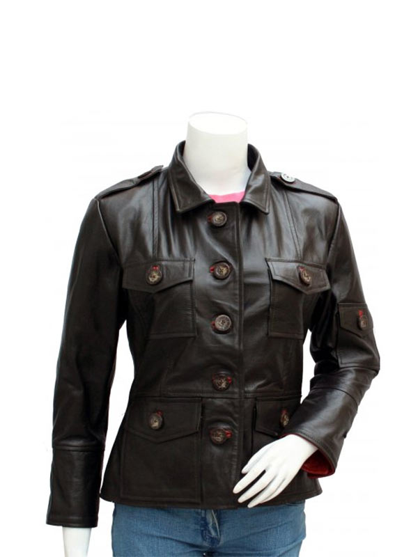 Women's Four Pockets Brown Leather Jacket