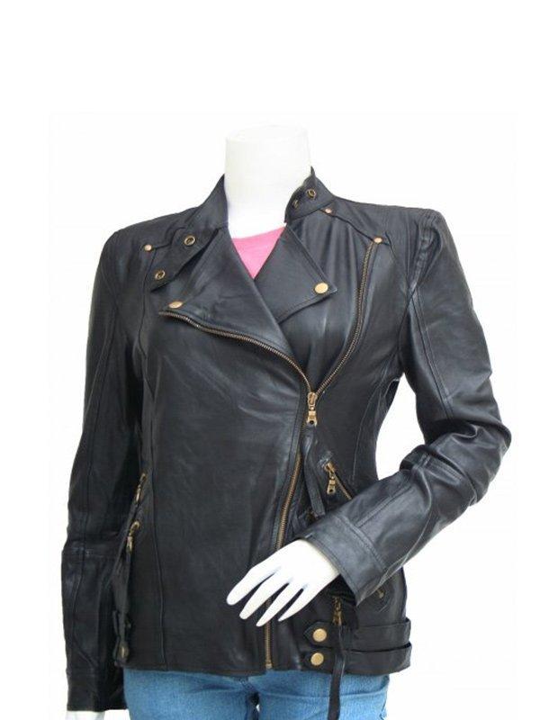 Women's Golden Zipper Motorcycle Leather Jacket