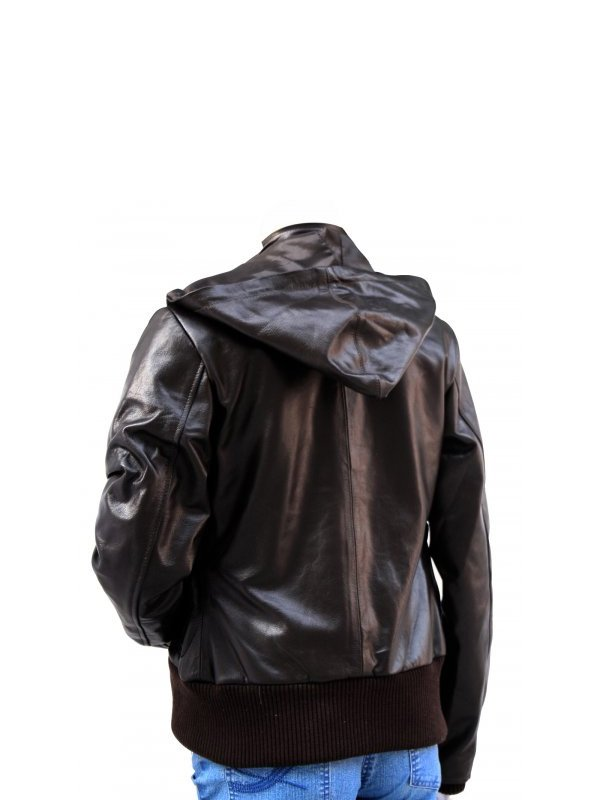 Women's High Fashion Brown Leather Hooded Jacket