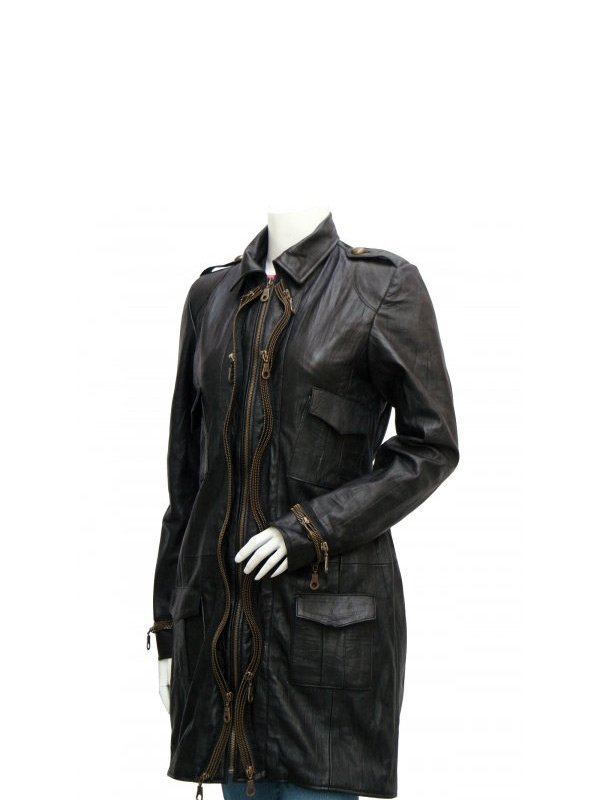Women's Mid Length Black Leather Coat