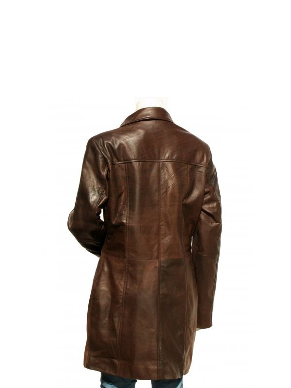 Women's Mid Length Dark Brown Leather Trench Coat