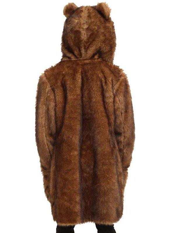 Workaholics Bear Brown Hooded Fur Coat