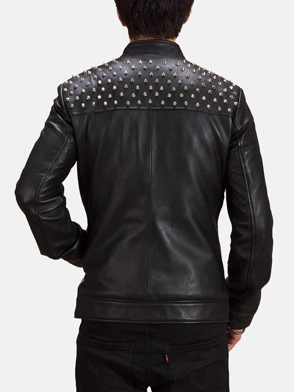 Biker Style Black Studded Leather Jacket For Men's