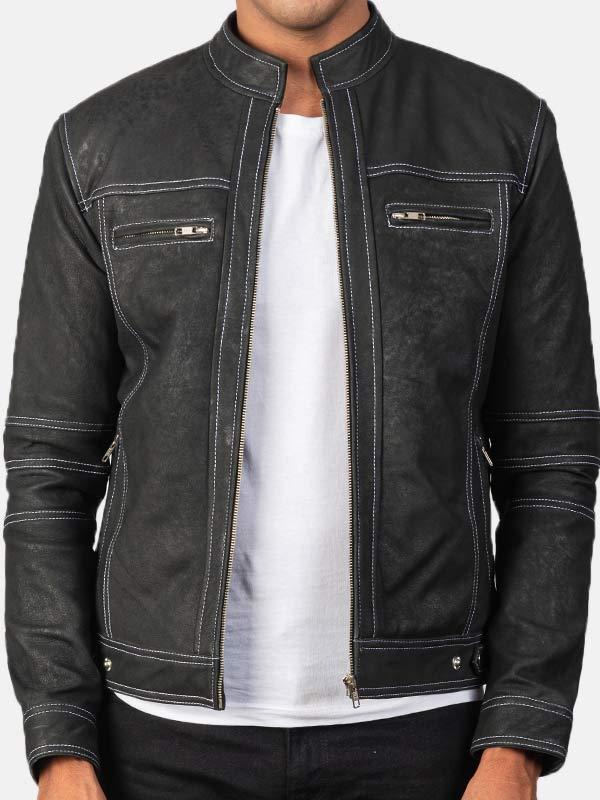 Black Distressed Leather Jacket Mens