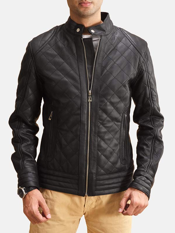 Black Leather Mens Quilted Jacket