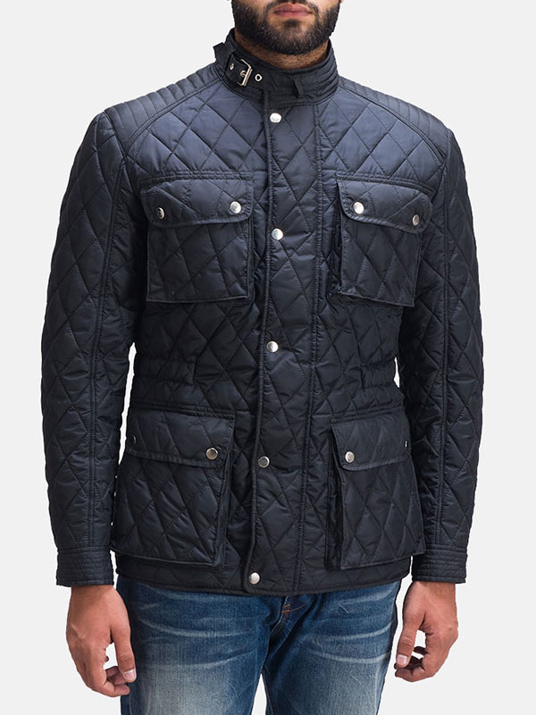 Black Quilted Style Windbreaker Jacket