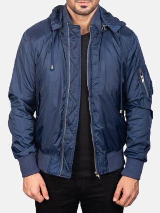 Blue Hooded Mens Bomber Jacket
