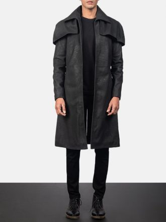 Classic Black Distressed Leather Trench Coat