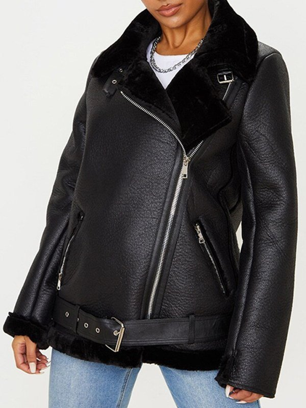 Francesca Farago Aviator Black Leather Jacket