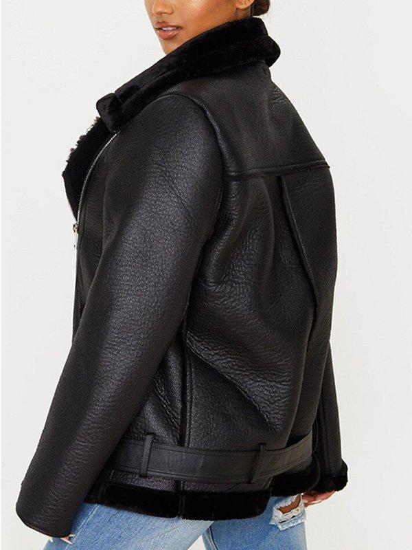 Francesca Farago Black Aviator Shearling Leather Jacket