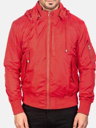 Hooded Red Mens Bomber Jacket