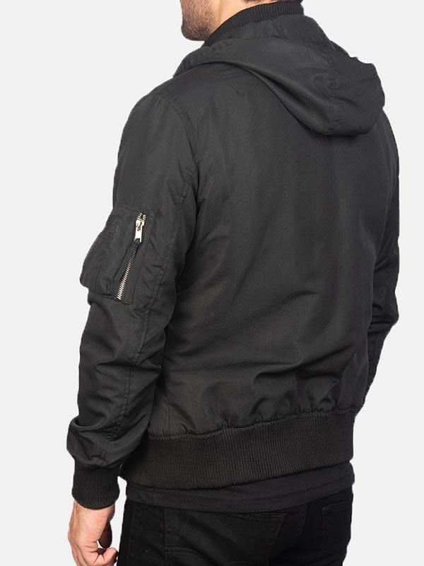 Hooded Style Black Bomber Jacket Mens