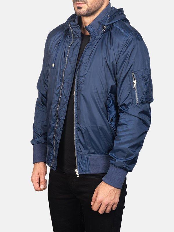 Hooded Style Blue Bomber Jacket Men