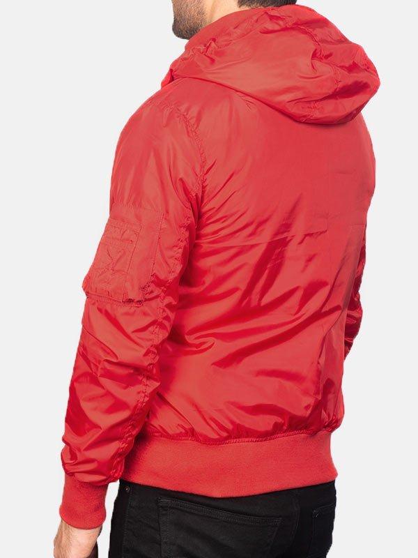 Hooded Style Red Bomber Jacket Men