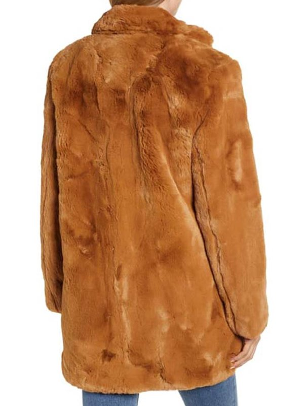 Liza Lapira The Equalizer Melody Bayani Brown Faux Fur Coat