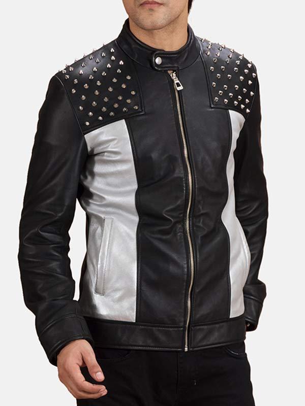 Men's Biker Studded Leather Jacket
