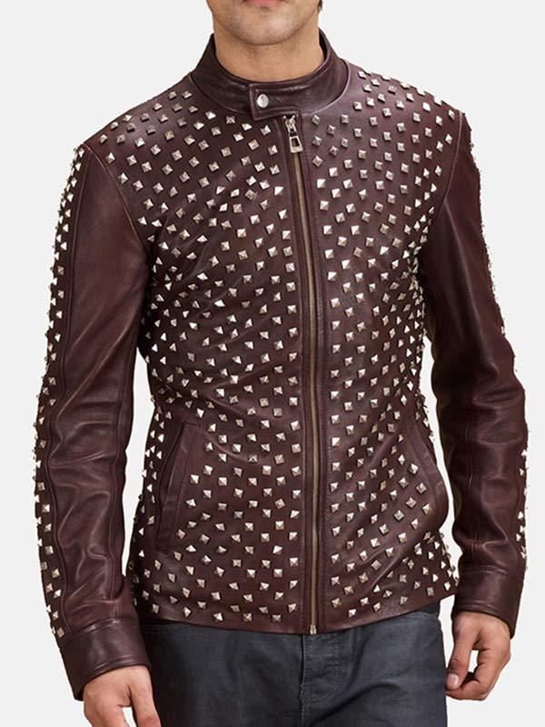 Men's Biker Style Studded Brown Leather Jacket