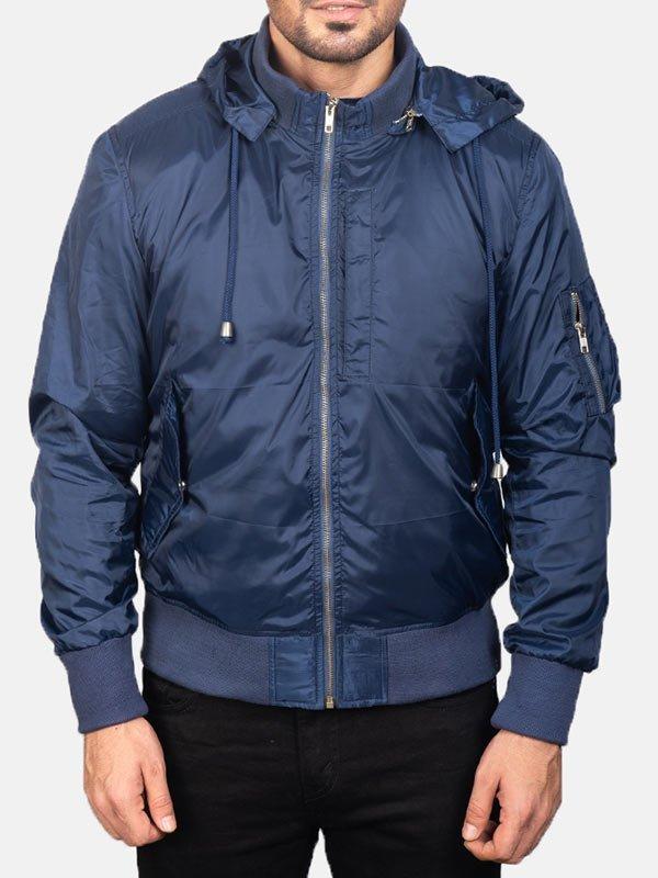 Mens Blue Bomber Jacket