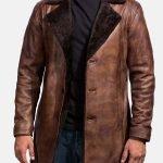 Men's Brown Distressed Fur Leather Coat