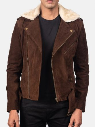 Men's Brown Suede Leather Motorcycle Jacket