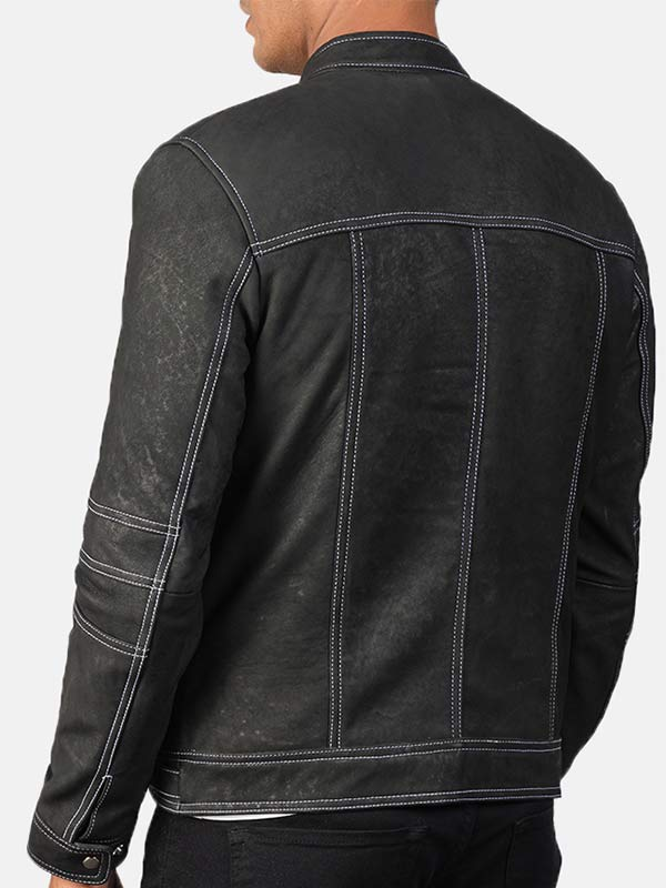 Men's Distressed Black Leather Jacket With White Outlines