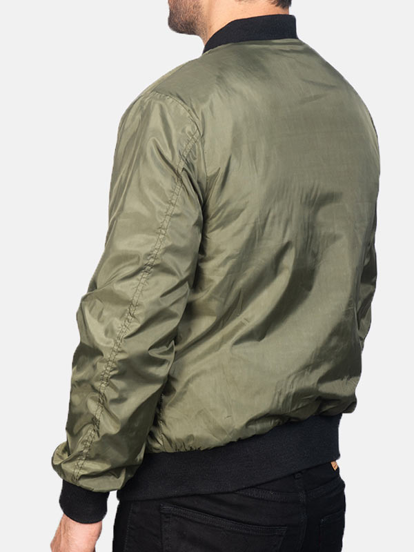 Mens Green Zip Up Style Bomber Jacket