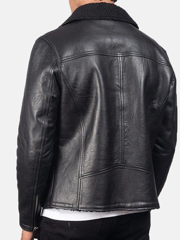 Men's Luxury Black Sheepskin Leather Shearling Jacket