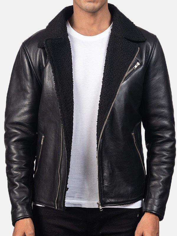 Mens Luxury Shearling Black Leather Jacket