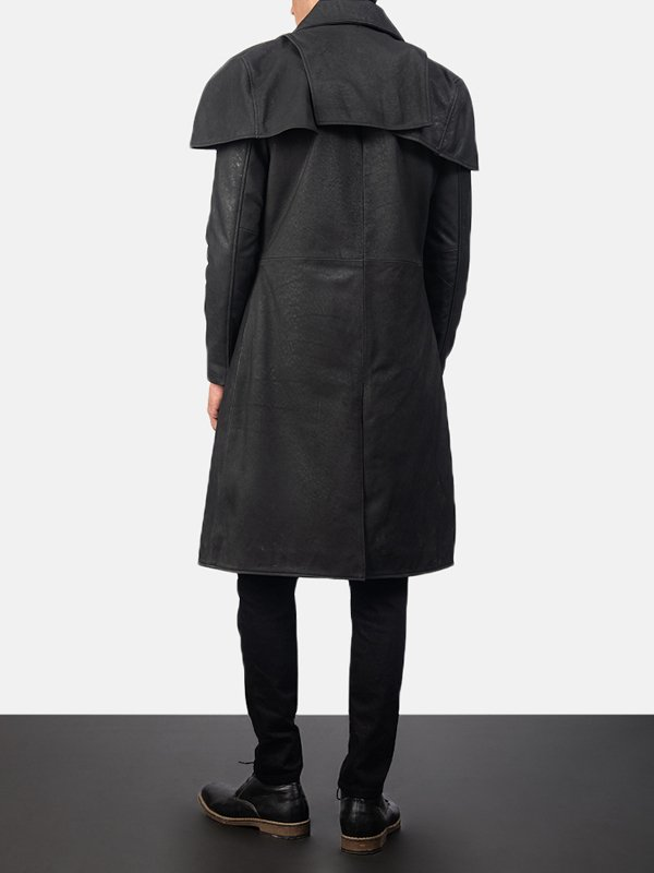 Men's Mate Black Distressed Leather Trench Coat