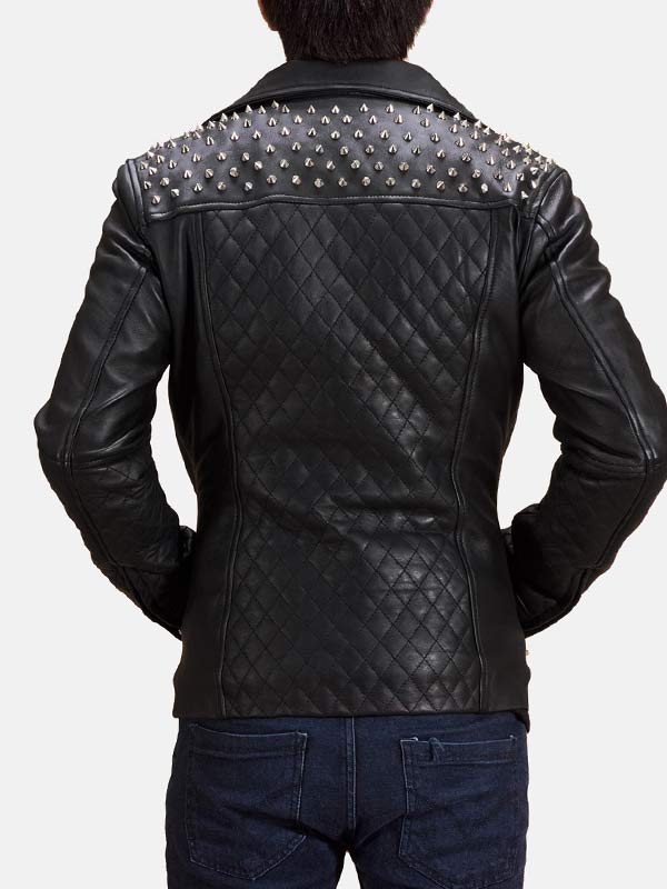 Mens Quilted Style Black Studded Leather Jacket